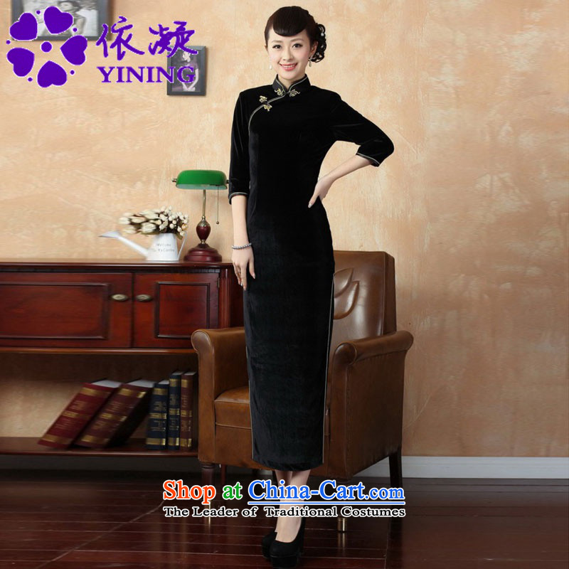 In accordance with the new fuser for women retro Tang Dynasty Chinese qipao improved collar is pressed to retro-allotted seven points qipao skirt?Lgd/t0001# Cuff  ?Black?S