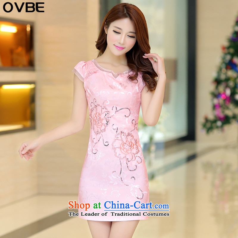 燭he Korean version of 2015 OVBE summer New Sau San old character gentlewoman Embroidery Stamp Pack and qipao short skirt female pink wire feed towel燲L