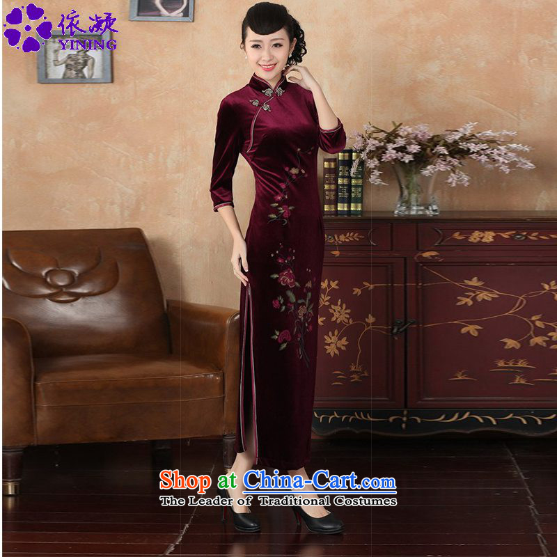 In accordance with the new fuser for women retro Tang Dynasty Chinese qipao improved retro-clip Sau San 7 cuff cheongsam dress?LGD/T0003#?wine red?2XL