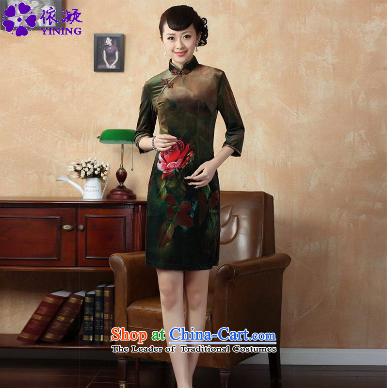 In accordance with the new fuser for women Stretch Wool poster stylish Kim Classic 7 short cheongsam dress cuff Sau San?LGD_TD0002_?figure?M