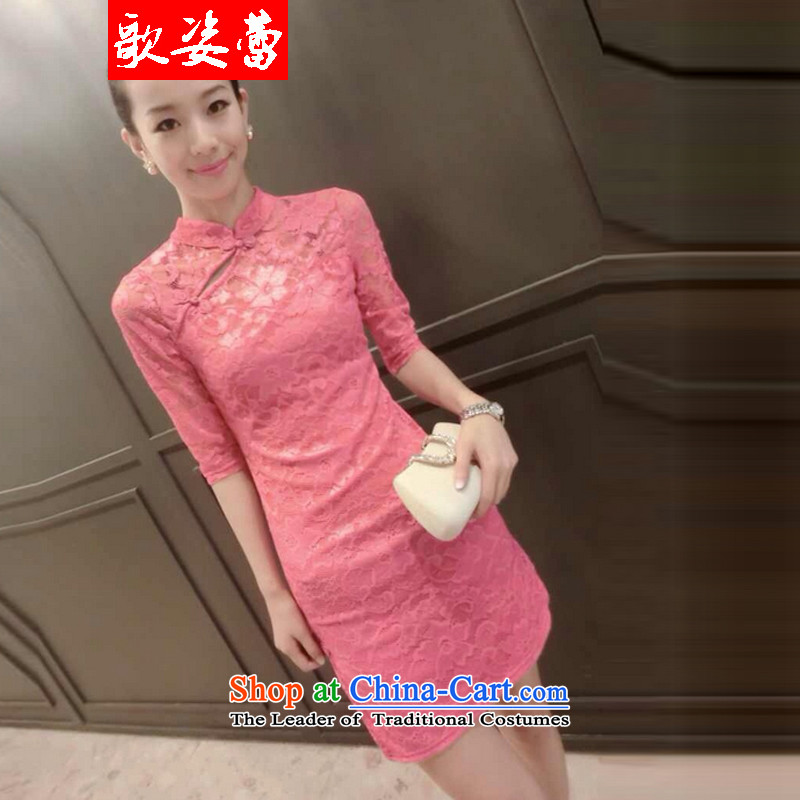 Gigi Lai Lei?2015 Autumn songs with lace Sau San video thin cheongsam dress pink?M