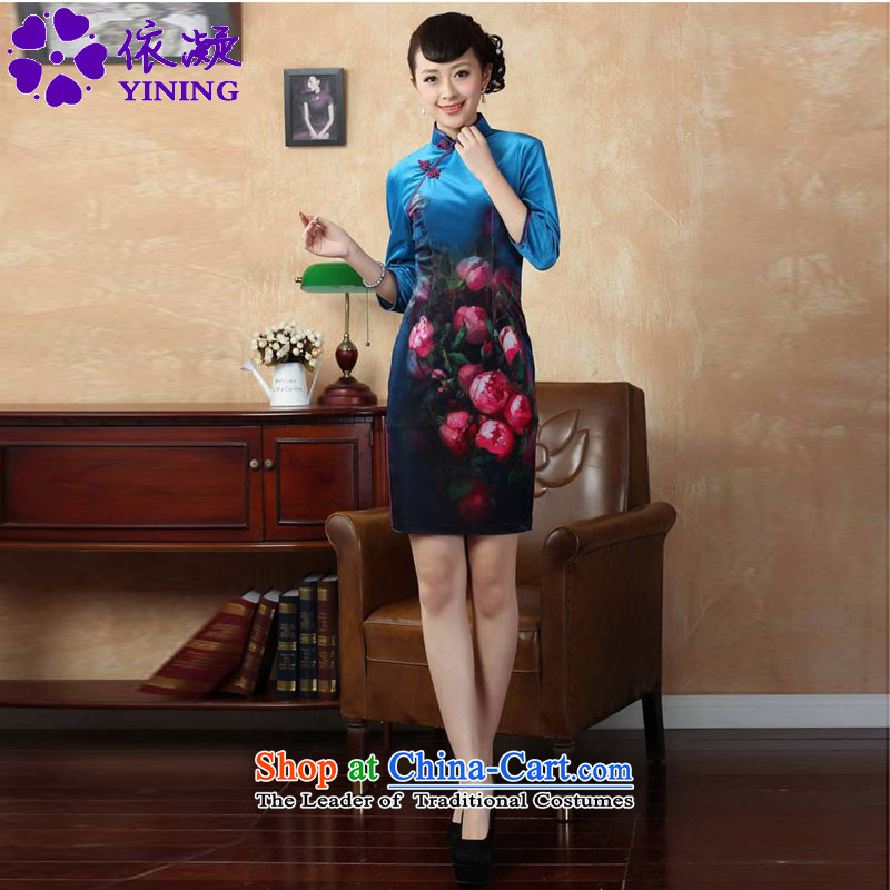In accordance with the new fuser Tang dynasty women cheongsam Stretch Wool poster stylish Kim Classic 7 short-sleeved skirt聽LGD_TD0004_ QIPAO_聽figure聽M