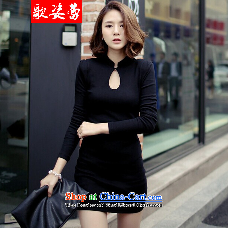 Gigi Lai Lei燬au San 2015 GE GRAPHICS package and sexy thin solid long-sleeved black skirt qipao short skirt black燬