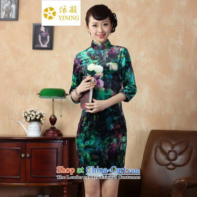 In accordance with the new fuser Tang dynasty women cheongsam Stretch Wool poster stylish Kim Classic tray clip short skirt?LGD/TD0007# Sau San qipao?Figure?2XL