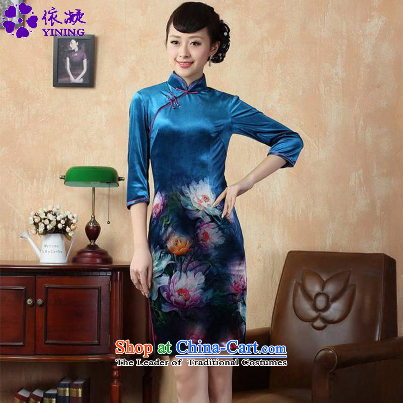In accordance with the new fuser for women retro improved Tang dynasty qipao Stretch Wool poster stylish Kim Classic 7 short-sleeved cheongsam dress?LGD/TD0008#?figure?XL