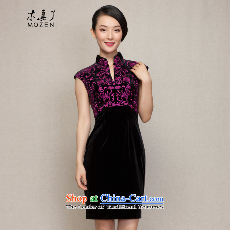 The women's true   The New Spring 2015 of Chinese embroidery cheongsam dress mother Sau San scouring pads fitted dresses 43000 01 Black?M