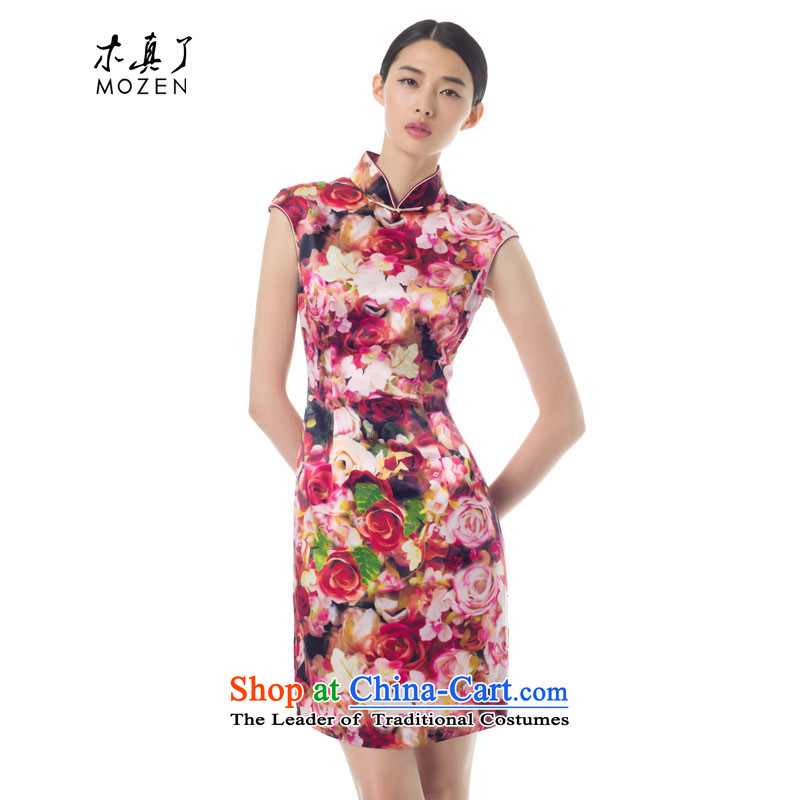 The women's true   2015 Spring_Summer Load New Silk poster short of Qipao Sau San Couture skirt 21957 19 light pink燲XL