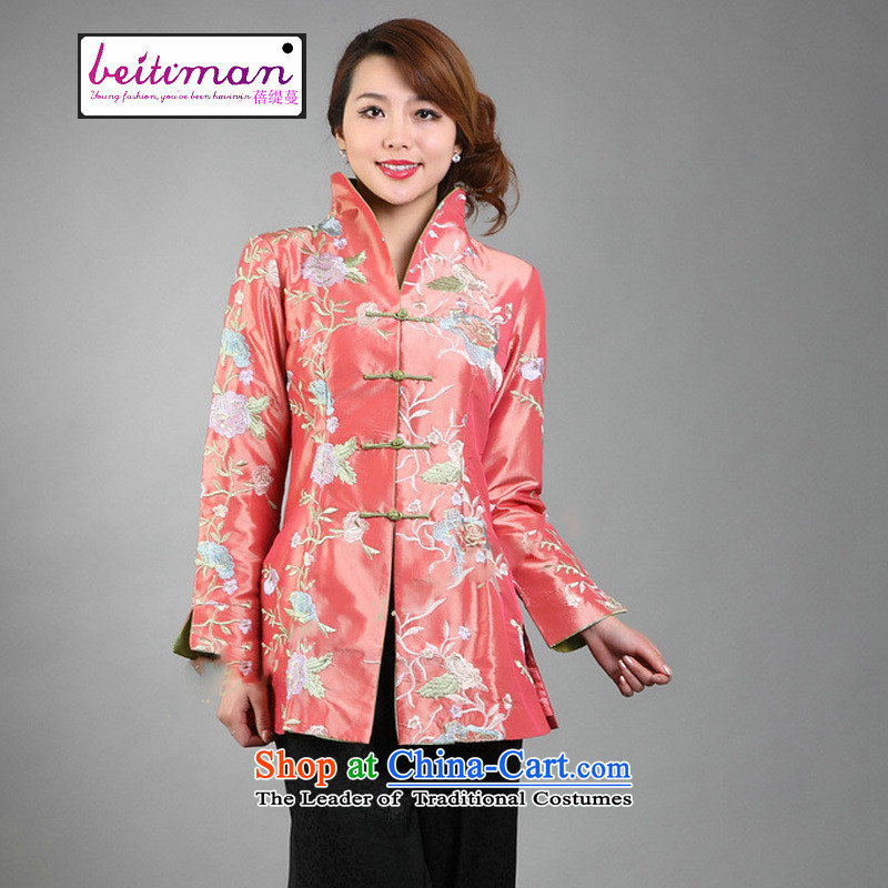 Ms. Arbour, Mrs Ingrid Yeung as fine embroidery women can reverse collar Tang dynasty long-sleeved wind jacket orange燲L