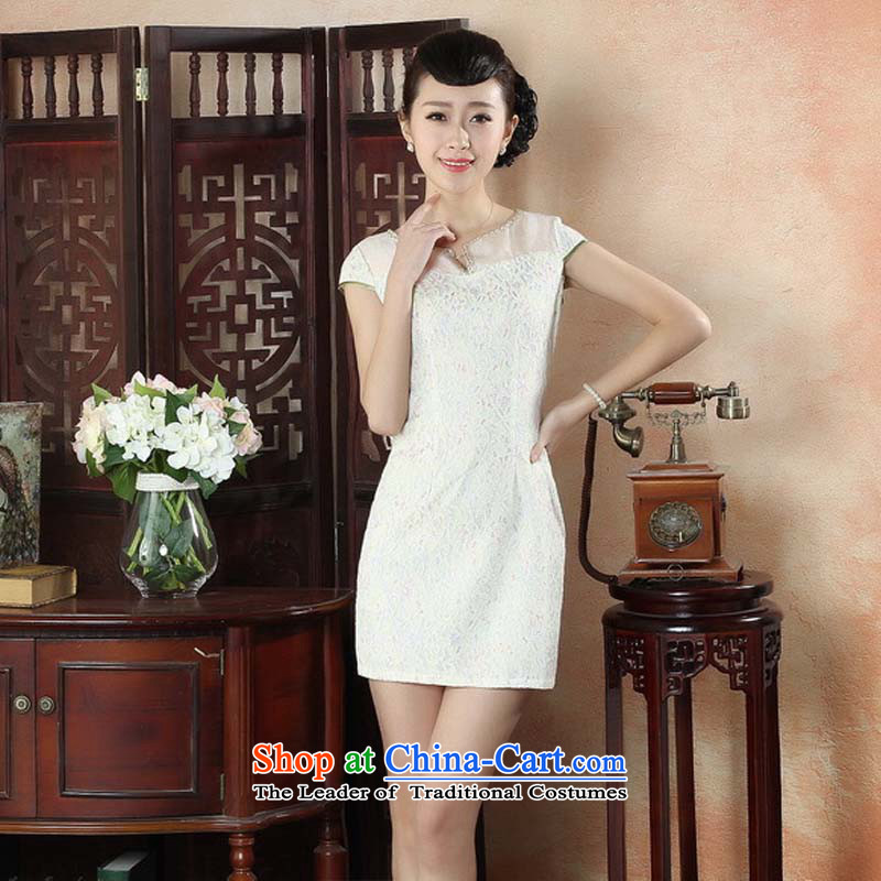 The new 2015 Water Chinese dresses daily stylish elegance cheongsam dress retro Sau San sexy lace qipao apricot?M