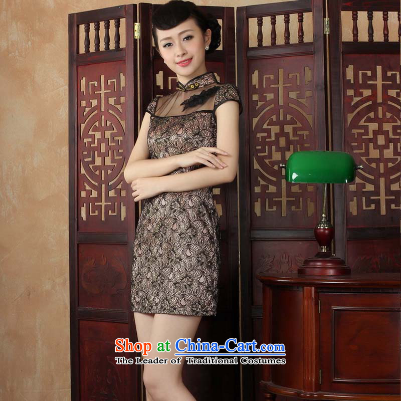 The stylish water improved lace qipao 2015 new elegant short of daily cheongsam dress black燤