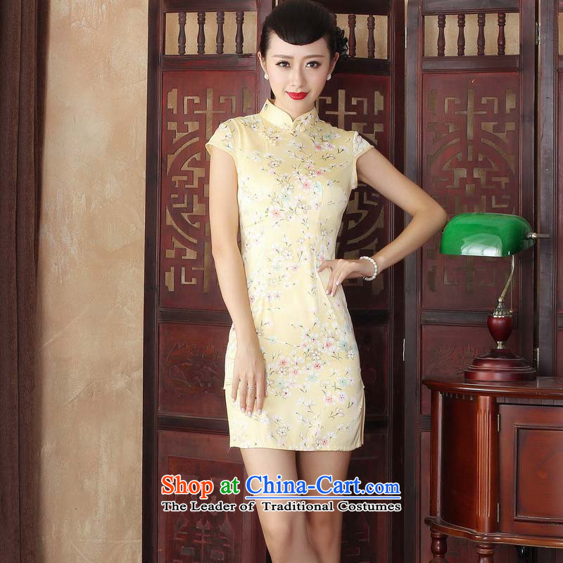 The 2015 summer retro high water silk cheongsam dress Stylish retro qipao cheongsam dress the Sau San improved dresses Yellow?M