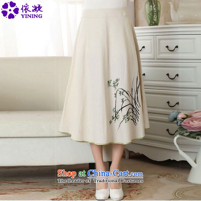 According to the women's summer Gel New wild ethnic cotton linen hand-painted body skirt Tang dynasty women A Skirt?LGD_P0011_?figure?L