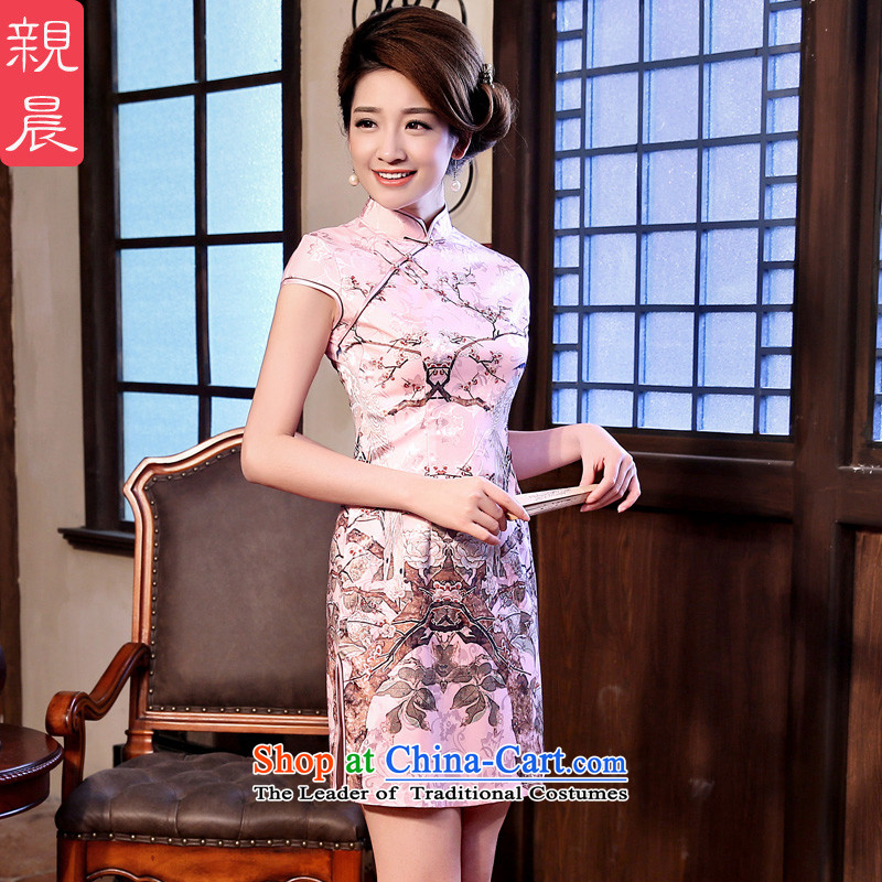 ? pro-am- 2015 New-short of Sau San retro traditional ethnic wind everyday dress cheongsam dress short-sleeved�L
