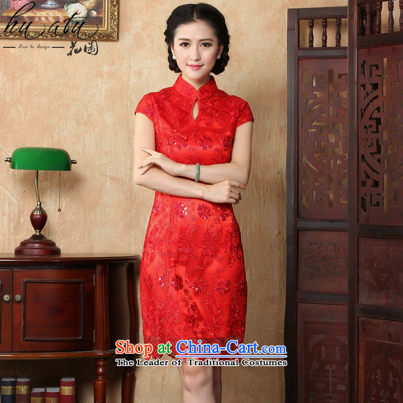 Dan smoke summer new red marriages bows dress retro embroidery shortage of improved qipao CHINESE CHEONGSAM collar red�S