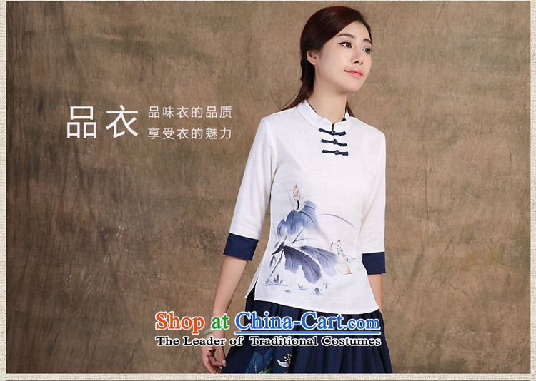 No. Tang Spring Ramadan 2015 New China wind original hand-painted 7 cuff improved qipao shirt Han-women's pre-sale) May 15, white S picture, prices, brand platters! The elections are supplied in the national character of distribution, so action, buy now enjoy more preferential! As soon as possible.