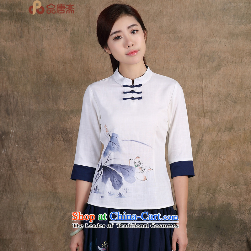 No. Tang Spring Ramadan 2015 New China wind original hand-painted 7 cuff improved qipao shirt Han-women's pre-sale_ May 15, white?S