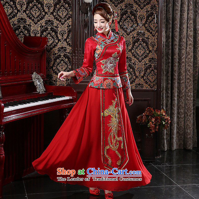 Shared guijin Keun-soo reel services Bridal Services Chinese wedding dresses wedding dress composites drink coca 2015 New Sau kimono red�L code from Suzhou Shipment