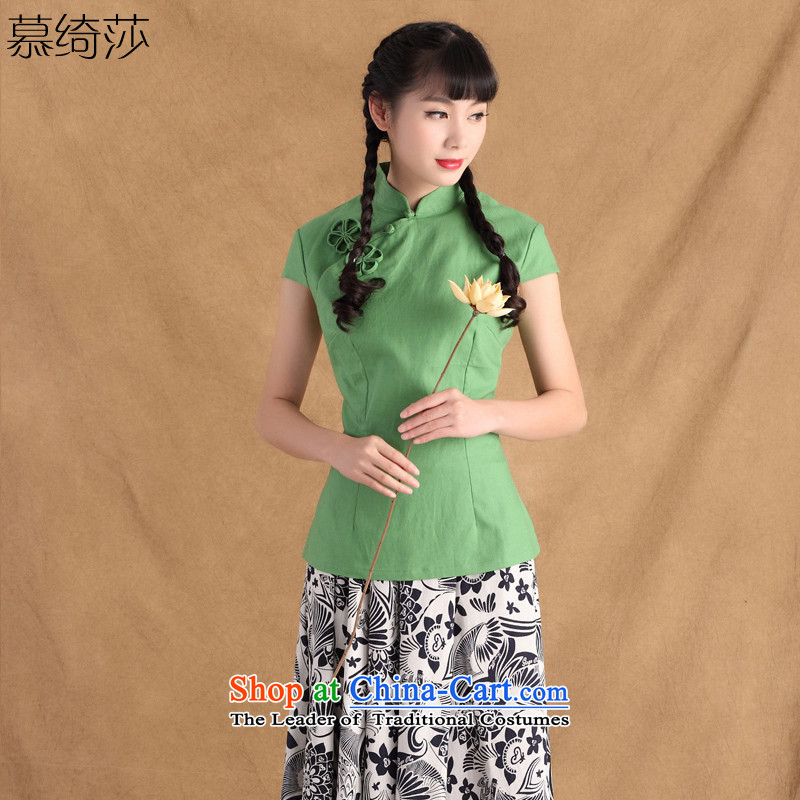 The cross-sa Doi blue summer cotton linen clothes Tang dynasty qipao improved female Ms. Tang Dynasty Chinese ethnic�ctbs TC multi-colored green (367) M