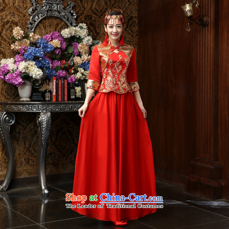 Su Xiang edge in the new 2015 Red video thin toasting champagne cuff qipao Chinese Antique style wedding gown embroidery long marriage solemnisation bride cheongsam dress red xl