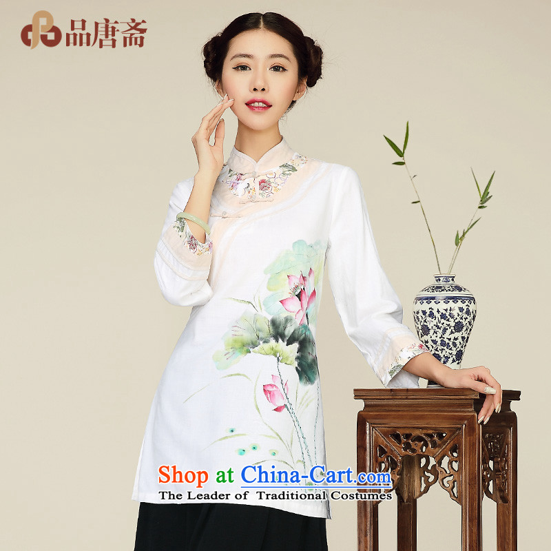No. Tang Spring Ramadan 2015 New China wind cotton linen in Sau San long long-sleeved shirt qipao improved White?M