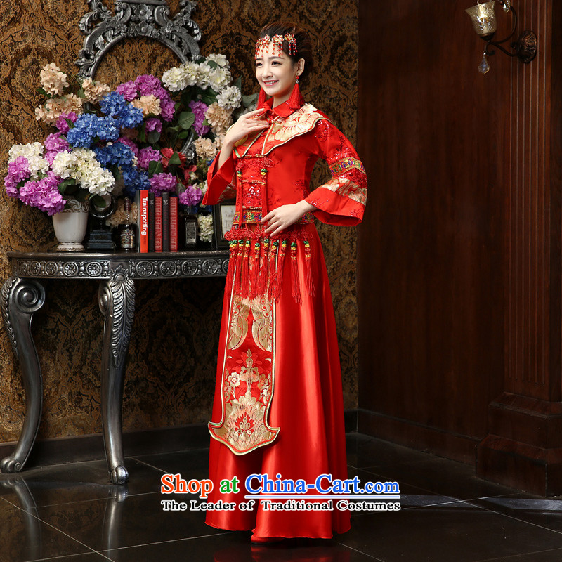 Su Xiang Edge?2015 Sau Wo Service new bride Chinese wedding dress longfeng use Tang dynasty bows services red qipao Soo kimono red?m