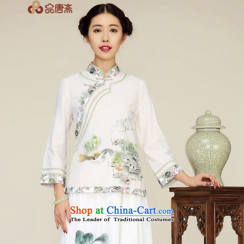 No. Tang Spring Ramadan 2015 new ethnic Sau San long-sleeved cotton linen improved Han-Chinese qipao shirt raw retro-�M