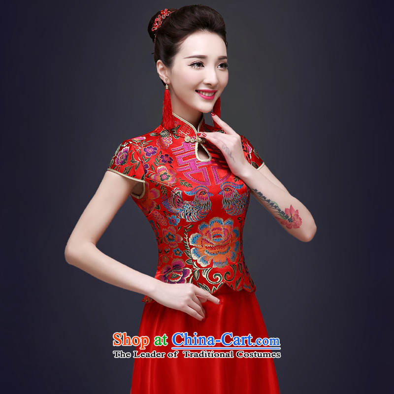 The privilege of serving-leung 2015 New Red Chinese bride services fall qipao summer bows wedding dress female wedding gown long red?L