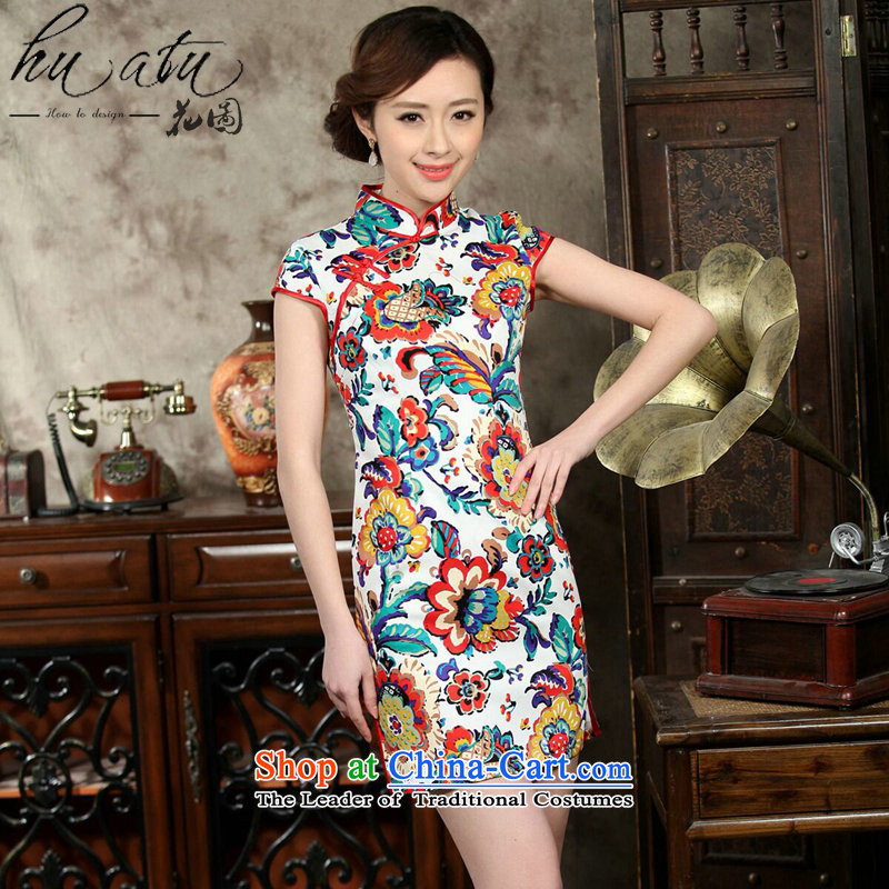 Take the new summer figure qipao women daily improved retro dresses cotton jacquard elegant qipao Stamp   short figure color?L