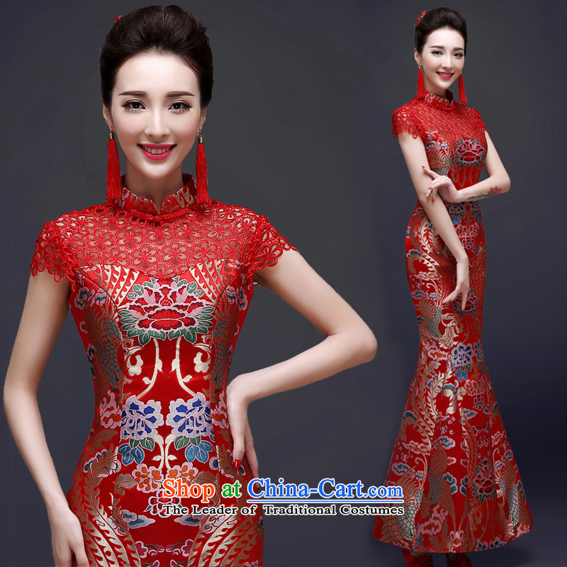 The privilege of serving-leung 2015 new bride services with the summer and fall of bows marriage cheongsam long red Chinese Dress Female Red�M
