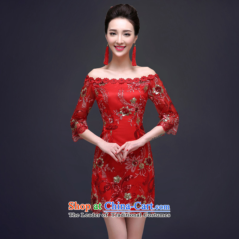 The privilege of serving-Leung Chiu-new bride 2015 bows to marry red qipao short of summer gown female Red Chinese?2XL
