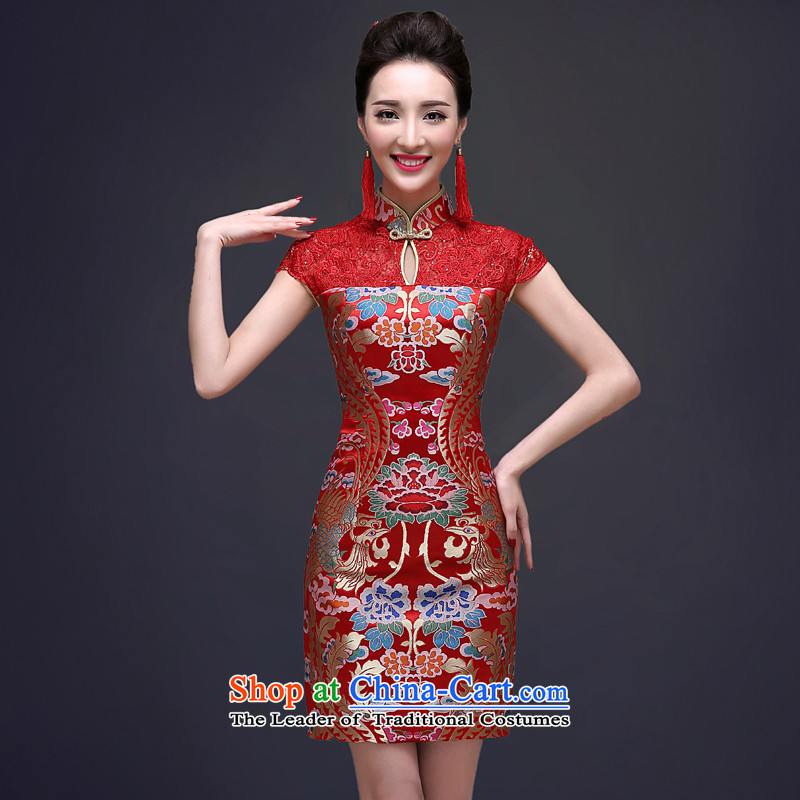 The privilege of serving-leung 2015 new bows services fall short of marriages qipao summer Chinese wedding dress female Red�2XL