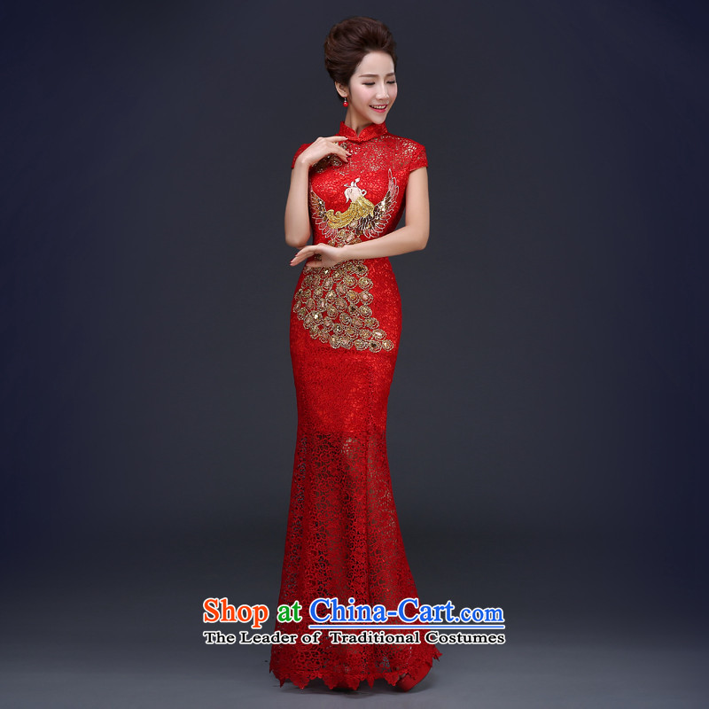 Jie mija bows to married women Red Dress 2015 new spring and summer, the length of Qipao Sau San red long?S