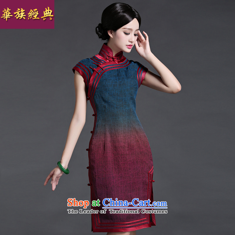 China Ethnic classic elegance of moiré silk yarn Chinese summer cloud of incense cheongsam dress retro Temperament spent daily Ms.?XXXL