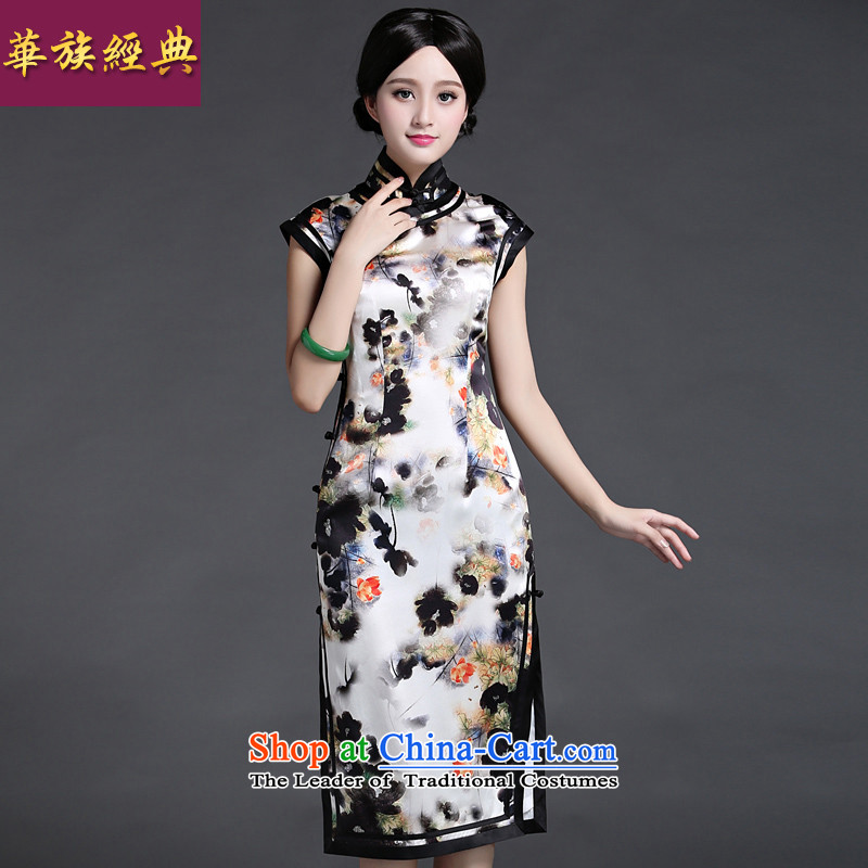 China Ethnic classic heavyweight silk herbs extract cheongsam dress new summer 2015 Ms. aura of nostalgia for the literary and artistic floral?S