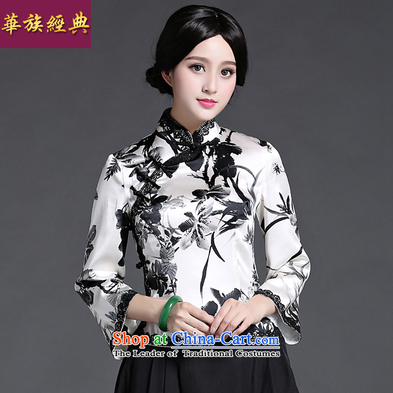 China Ethnic classic heavyweight silk Chinese Tang dynasty retro light short-sleeved T-shirt qipao Ms. spring and summer load improved Han-Black and White XXL