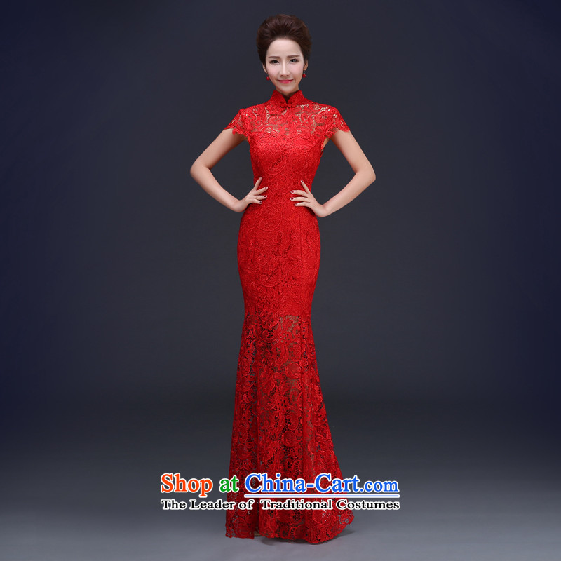 Jie mija red lace long crowsfoot retro Chinese qipao bride wedding dress spring evening drink served girl yarn red�XL
