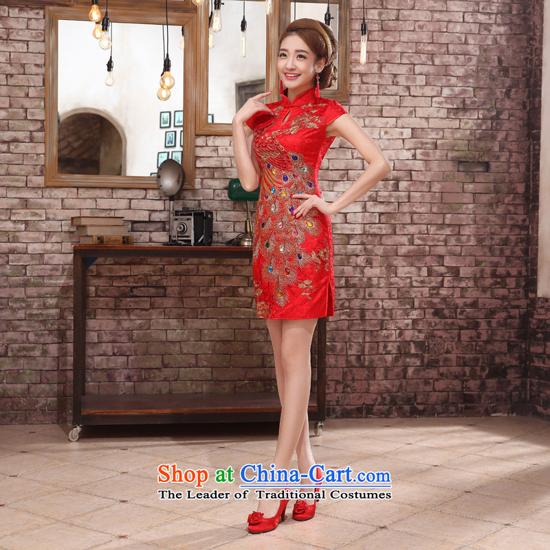 The dumping of the wedding dress wedding dresses New Spring 2015 Service bridal dresses red bows retro short, Phoenix Sau San package and marriages cheongsam RED燤