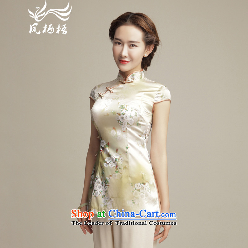 Bong-migratory 7475 Canada 2015 new summer, so Silk Cheongsam shirt collar Stylish retro Tang dynasty China wind DQ1548 BLANDED?L