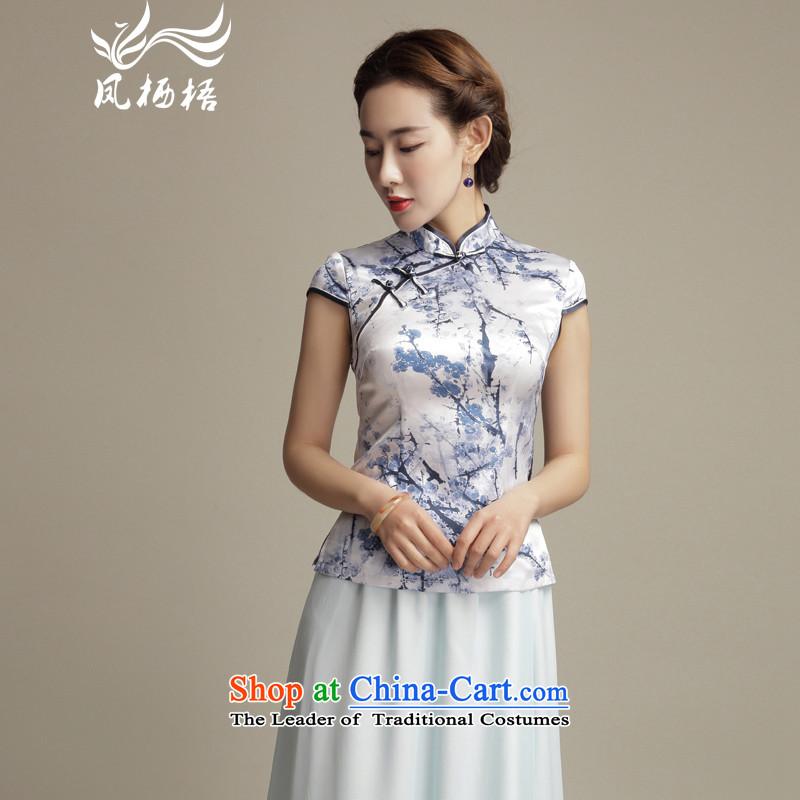 Bong-migratory 7475 2015 new summer, ome Silk Cheongsam stylish shirt short, Sau San Tong blouses DQ1550 elegant Suit?M