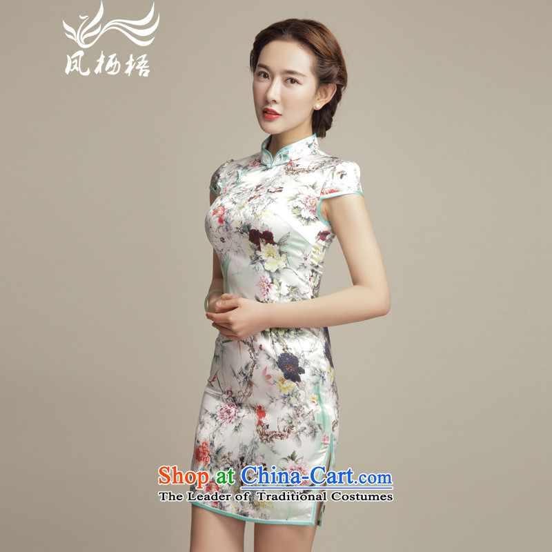 Bong-eon 2015 Color 7475 migratory summer New Silk Cheongsam retro herbs extract temperament Sau San cheongsam dress DQ1553 SUIT?XL