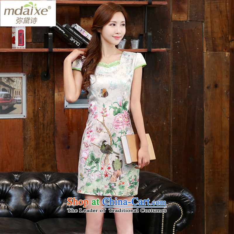 Indemnity joice qipao spring and summer load plain white peony cotton jacquard retro daily improved cheongsam dress temperament female Dan Feng-butterfly 982聽XXL