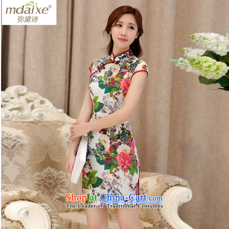 The improvement of Qipao joice cheongsam dress of summer performances and the relatively short time of sense of Sau San etiquette improved nightclubs qipao qipao 985 Butterfly Dance flowers to�M