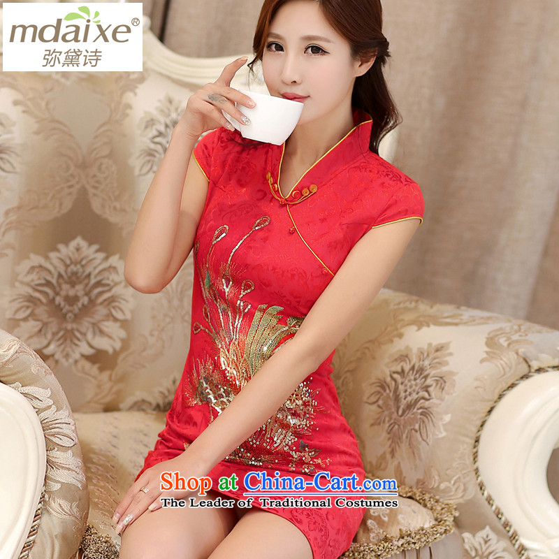 Joice cheongsam dress bridge summer wedding dresses retro qipao qipao improved load bows Service Bridal cheongsam dress 983 Red golden phoenix S