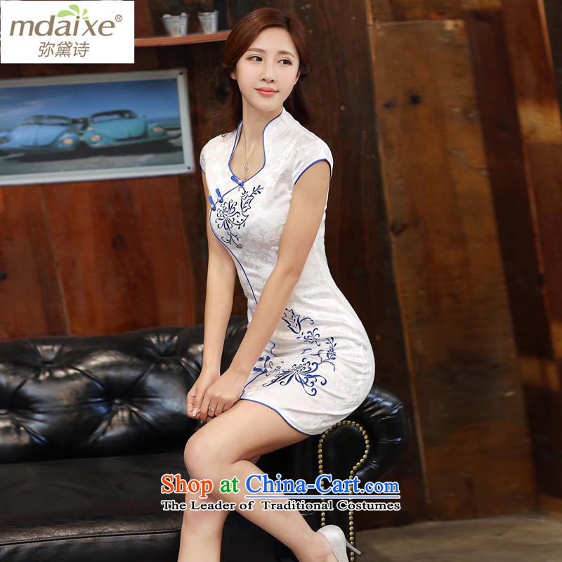 The stylish new joice improved cheongsam dress summer dresses daily video Ms. cheongsam look like thin Sau San cheongsam dress 986 of Short Cut Tsing Mudan?L