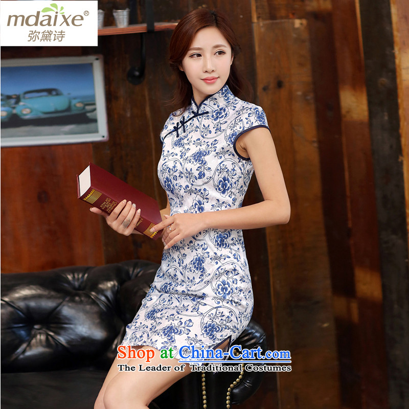 Indemnity joice summer daily qipao gown bridesmaid video thin cheongsam improved cheongsam dress on white blue qipao�M