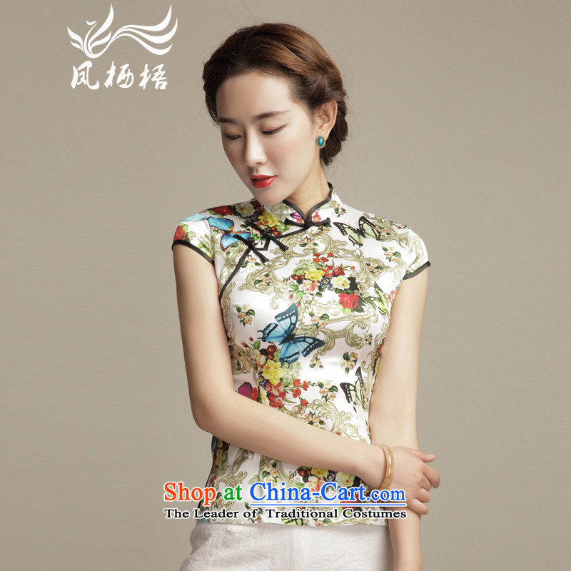 Bong-migratory 7475 Butterfly Lovers spend the summer of 2015, the new Silk Cheongsam shirt arts retro short of Sau San Tong blouses DQ1556 SUIT?L