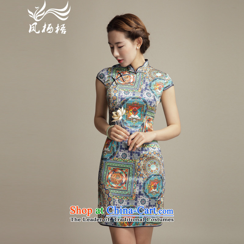 Bong-migratory 7475 2015 Summer New Style Silk Cheongsam ethnic stylish and elegant sauna Silk Cheongsam Sau San DQ1566 skirt suits?S