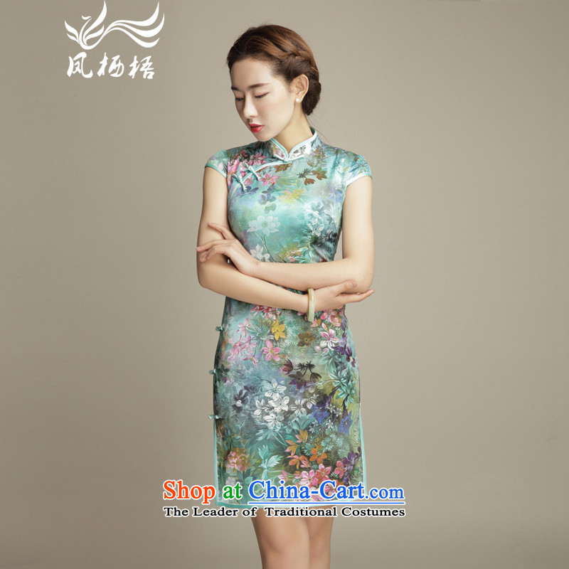 Bong-migratory 7475 fancy 2015 Summer New Silk Cheongsam retro manually herbs extract upscale detained disc cheongsam dress DQ1568 Suit燤