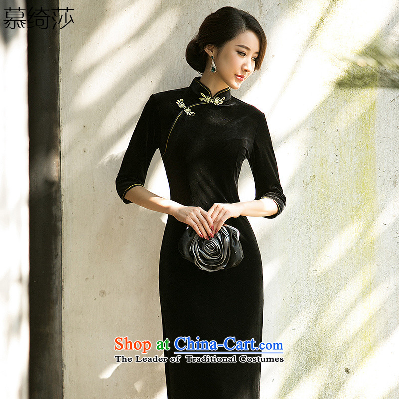 The cross-sa met President wedding dresses in long autumn and winter pure color Kim scouring pads cheongsam dress cheongsam dress? HY7021 daily temperament?long black,?L