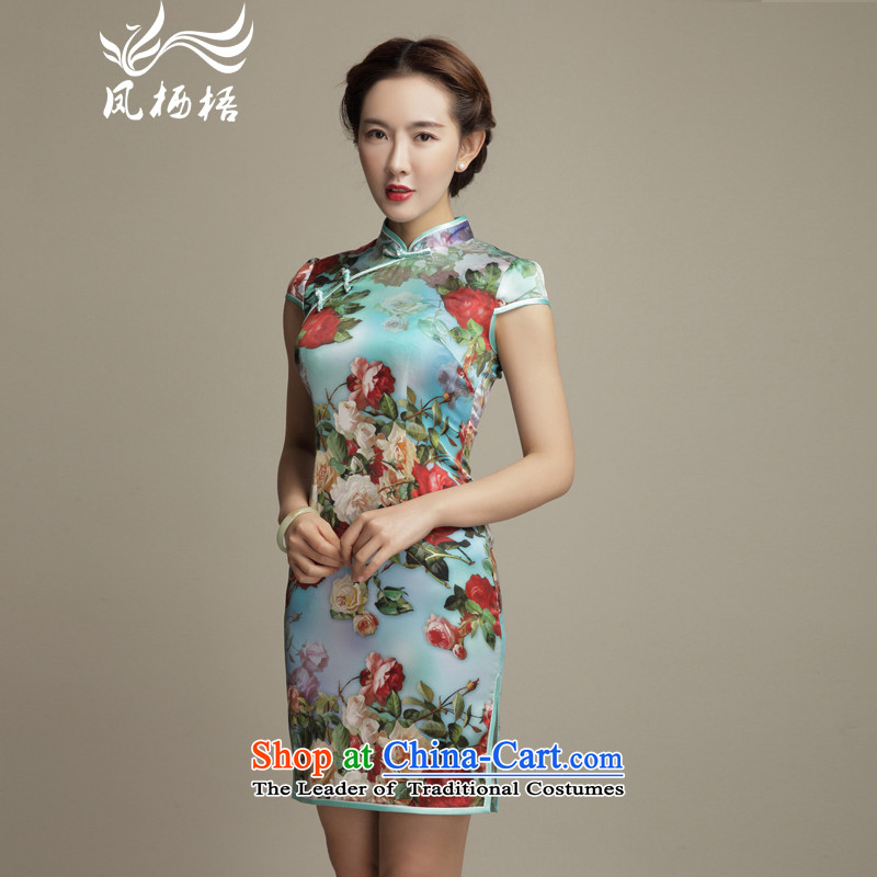 Bong-migratory 7475 2015 summer flowers New Silk Cheongsam upscale digital printing temperament Sau San herbs extract qipao DQ1571 skirt suits燬
